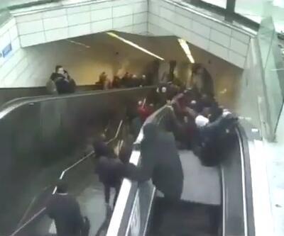 İşte metrodaki yürüyen merdivenin çökme anı görüntüleri