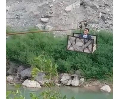 Hakim köye teleferikle gitti