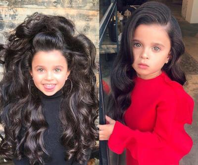 5 yaşındaki kız saçları ve tarzıyla sosyal medyayı salladı