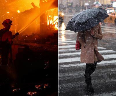 New York'ta kar fırtınası, California'da yangın felaketi