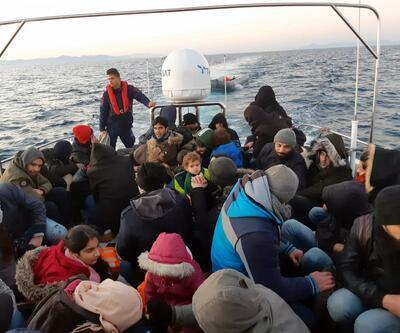 Lastik botta 45 kaçak göçmen yakalandı