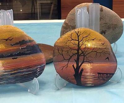 Çakıl taşlarına minyatür tablolar