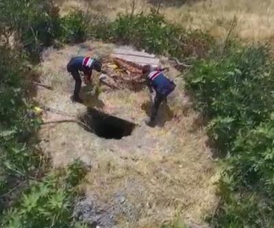 Kaçak kazı yapan 4 kişiye drone ile suçüstü