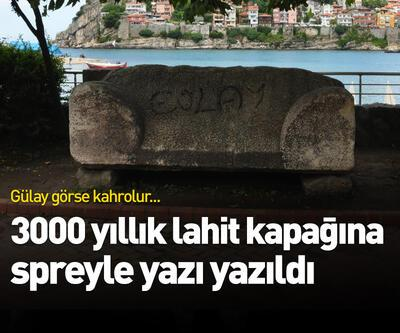 3000 yıllık lahit kapağına spreyle yazı yazıldı