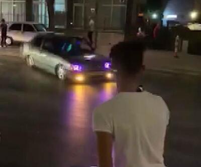 Plakası kapalı otomobille caddede drift yaptı