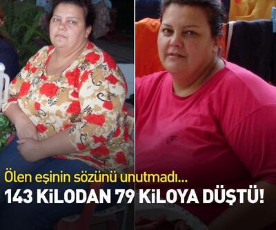 Ölen eşinin sözünü unutmadı, 64 kilo verdi