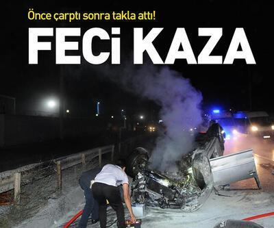 Gebze'de takla atan araba yandı! 1 ağır yaralı!