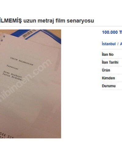 100 bin TL'ye sahibinden hiç çekilmemiş film senaryosu!