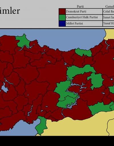 Genel seçim haritaları | 1950 - 2002