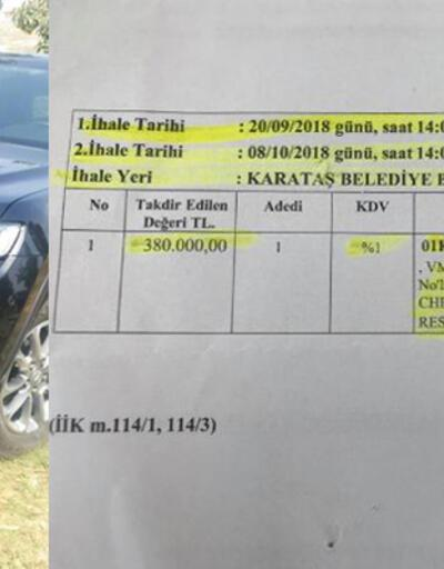 Karataş Belediyesi'nin makam aracı haczedilip satışa çıkartıldı