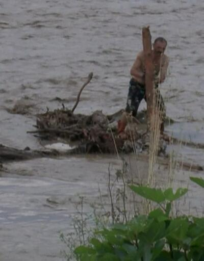 Sürüklenen odunlar Karadeniz'de birikti