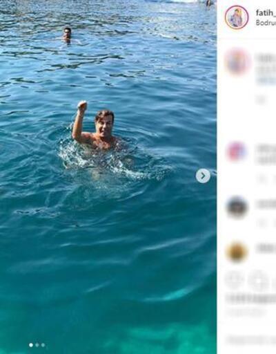 Fatih Ürek denizde yılan dansı yaptı