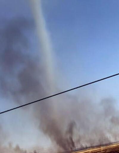 Siverek'te anız yakılan tarlada hortum çıktı