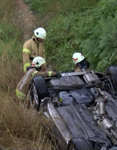 Şile yolu'nda araç şarampole yuvarlandı