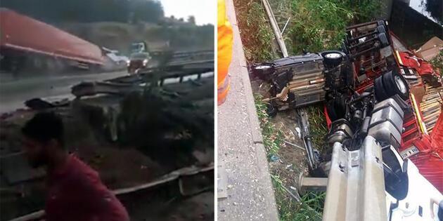 TIR ile çarptığı otomobil köprüden uçtu: 3 yaralı