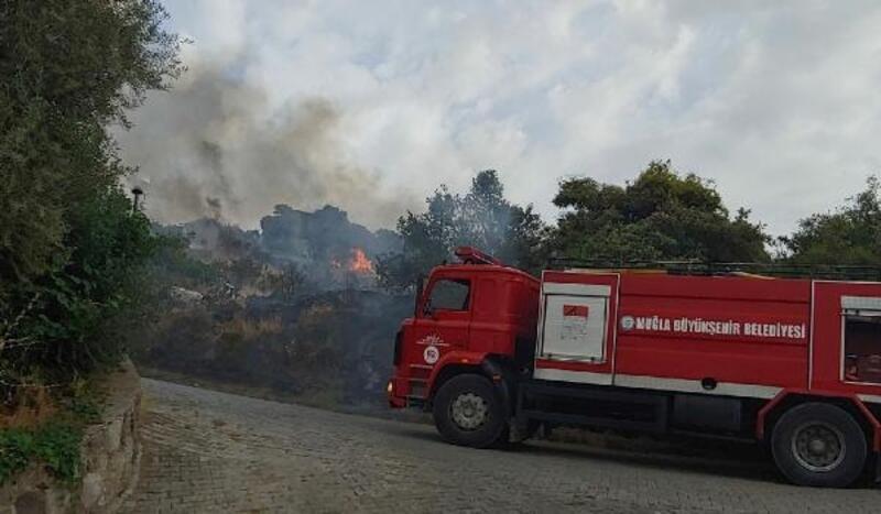 Bodrum'da site yakınında makilik yangını