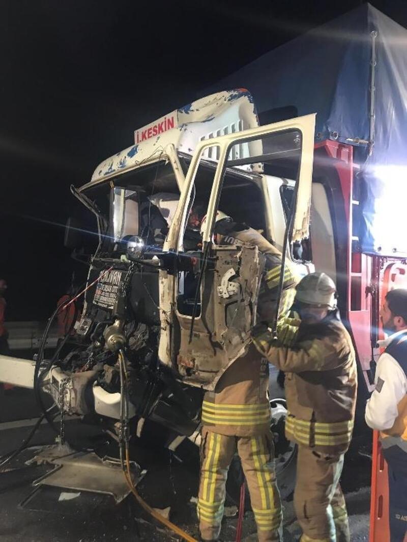TEM Otoyolu'nda kamyon kazası : 2 yaralı