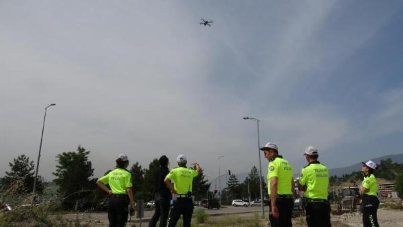 Karabük'te bayram öncesi drone ile trafik denetimi