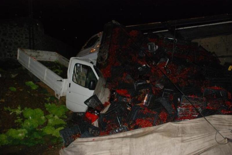 Tokat'ta kiraz yüklü kamyon, kamyonetin üzerine devrildi: 3 yaralı