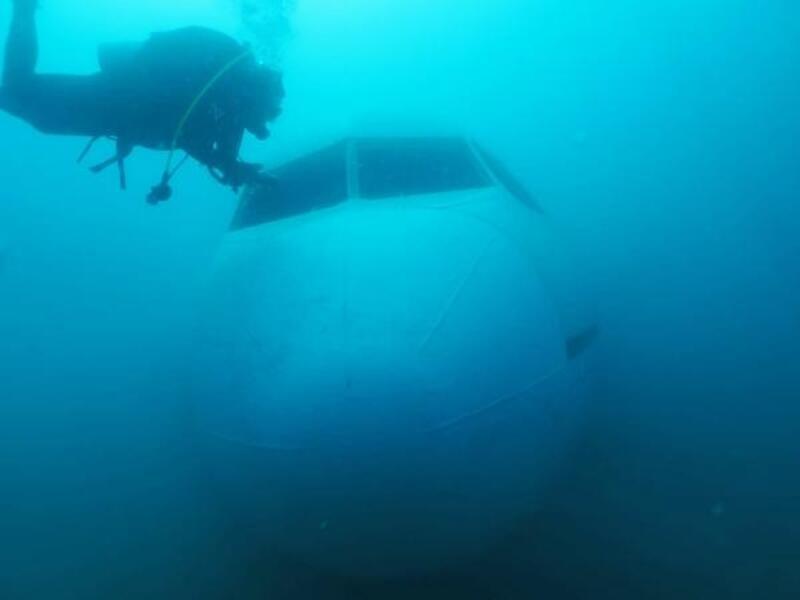 Saros'a batırılan uçağa ilk dalış yapıldı