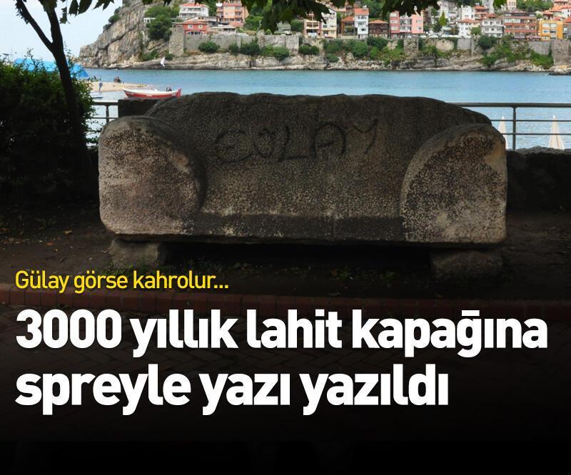 Son dakika: 3000 yıllık lahit kapağına spreyle yazı yazıldı