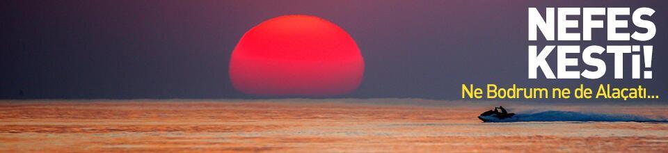 Van Gölü sahillerinde gün batımı güzelliği